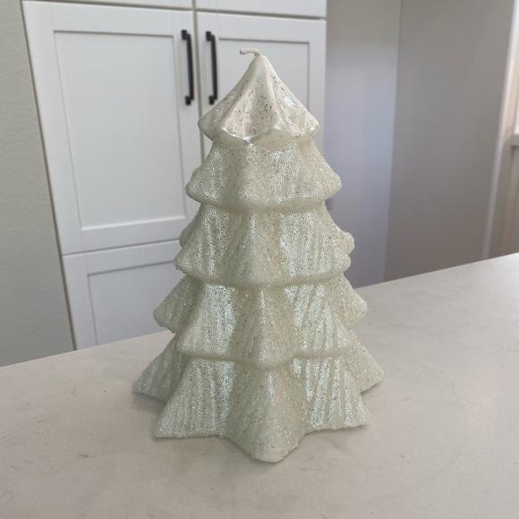 Pottery Barn Glitter Christmas Tree M White